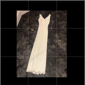 Silver metallic 60s prom dress